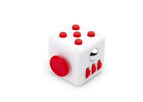 kit x2 fidget spinner antiestres cube forma cu-blanco / rojo
