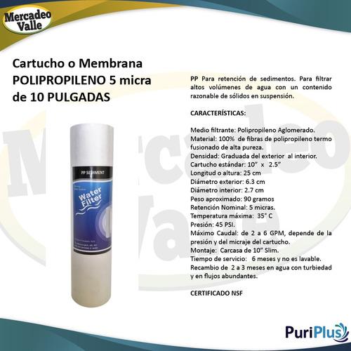 kit x2 membranas pp sedimentos 10 pulgadas para filtro agua