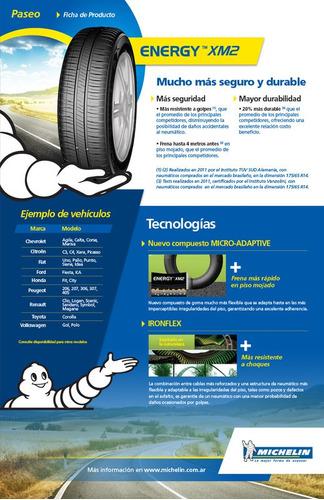 kit x2 neumáticos 185/55-16 michelin energy xm2 83v