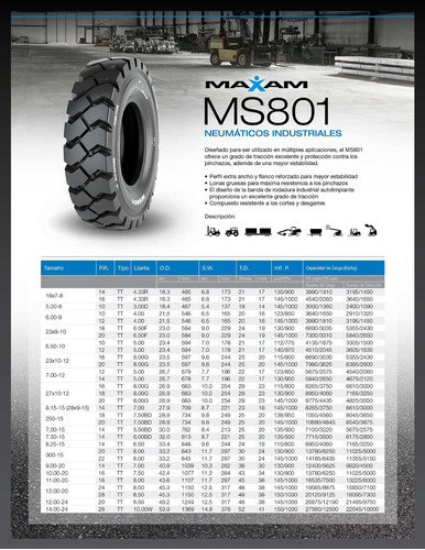 kit x2 neumaticos  7.00-12 ms801 pr 12