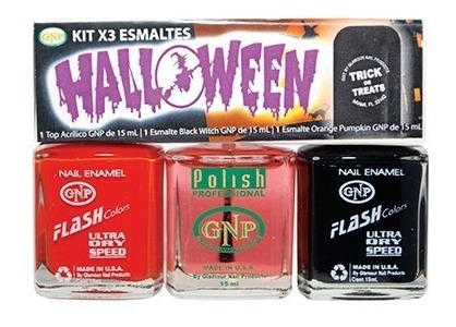 kit x3 halloween esmaltes flash colors gnp