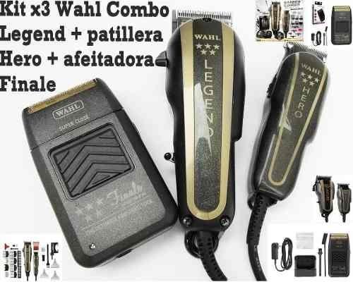 kit x3 wahl combo legend+hero+afeitadora finale profes.