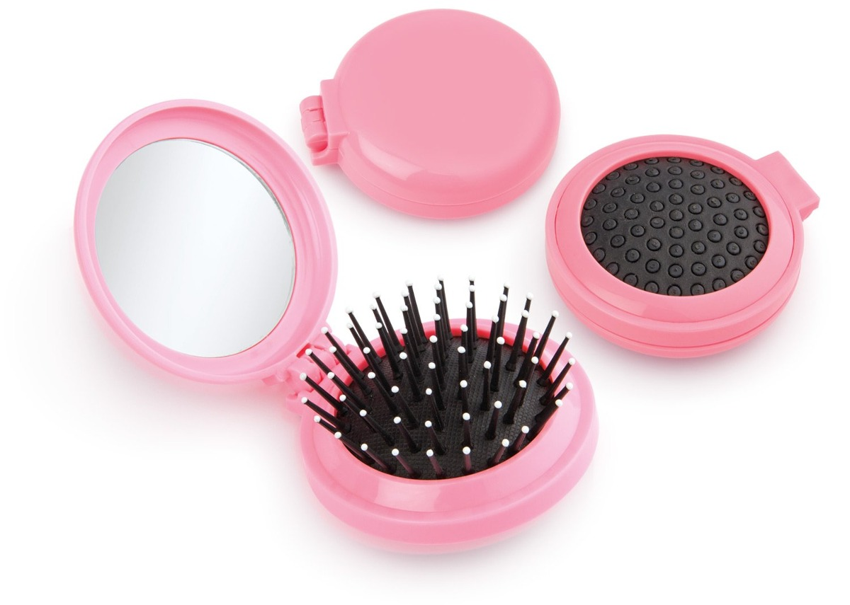 Kit x4 espejo cepillo redondo cabello rosado en for Donde comprar espejos redondos