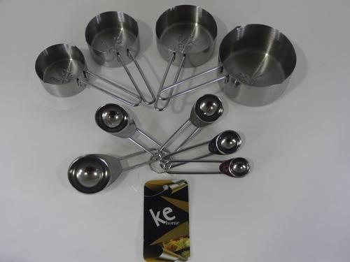 kit xícaras e colheres medidoras em inox 9 peças - kehome