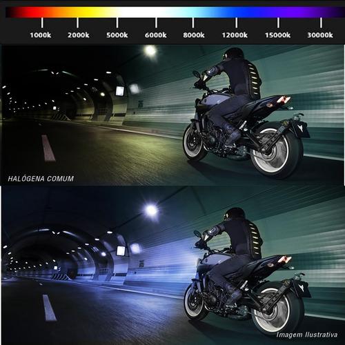 kit xênon moto completo h4-2 12000k 12v 35w tonalidade azul