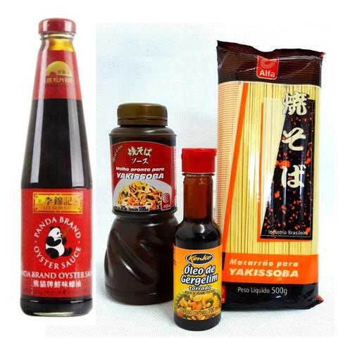 kit yakissoba (macarrão, molho, molho ostra, óleo gergelim)