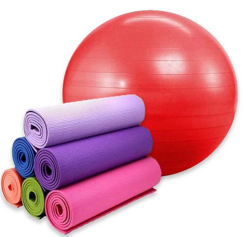 kit yoga /pilates pelota esferodinamia 85 cm + mat yoga 6 mm