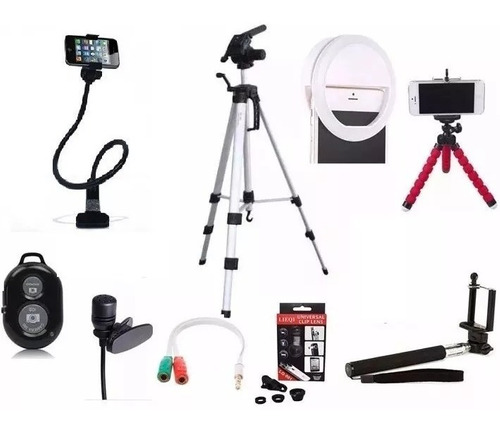 kit youtube tripe celular profissional gopro1,30m+acessorios