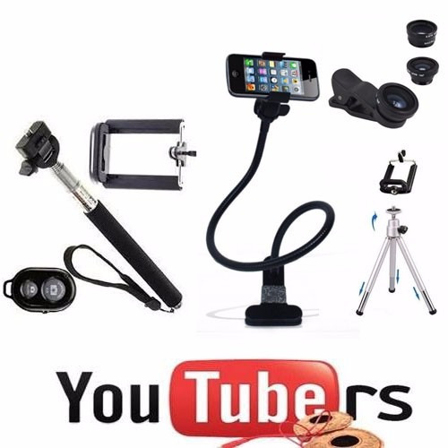 kit youtuber celular gravação mini tripé selfie bluetooth