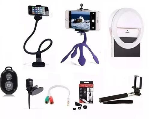 kit youtuber gravação celular acessorios vloger + anel flash