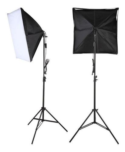 kit youtuber iluminação softbox e27 40x60cm com tripé