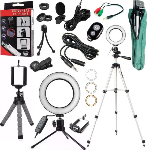 kit youtuber lapela tripé 1,30m + luz iluminador ring light