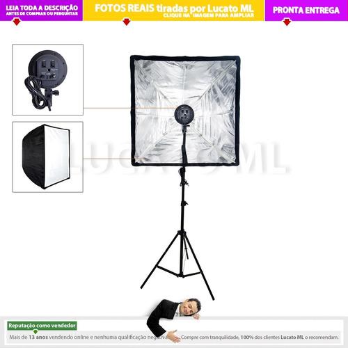 kit youtuber luz contínua 4xe27 + softbox + tripé   nc