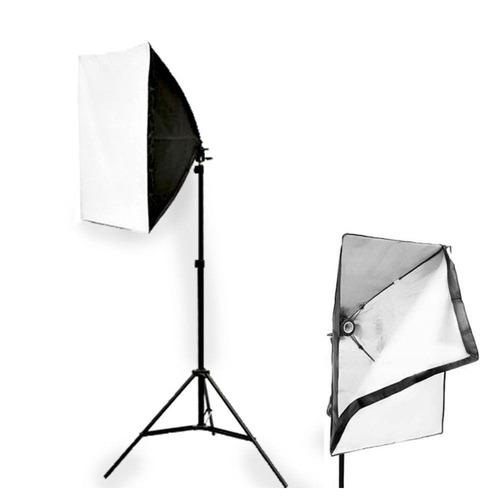 kit youtuber luz contínua softbox 50 x 70 + tripe 2m