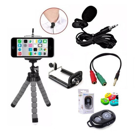 Kit Youtuber Microfone De Lapela Para Celular + Mini Tripé