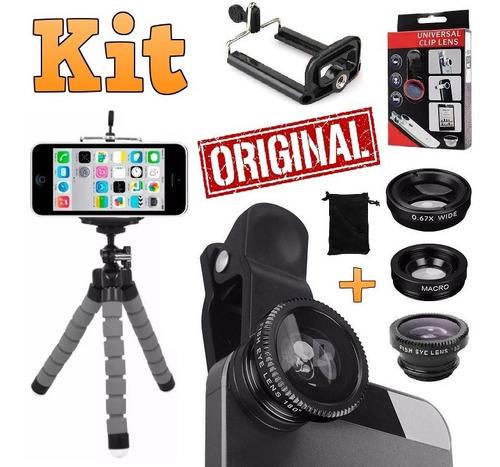 kit youtuber microfone de lapela tripé flash luz ring light