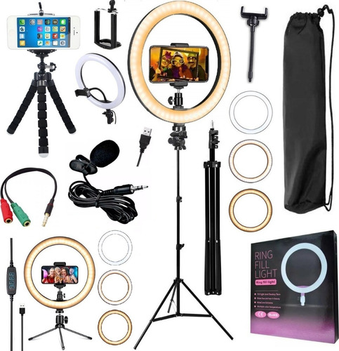 kit youtuber tripé lapela celular luz iluminador ring light