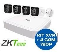 kit zkteco xvr 4ch + 4 cam bullet 720p con fuentes y cables