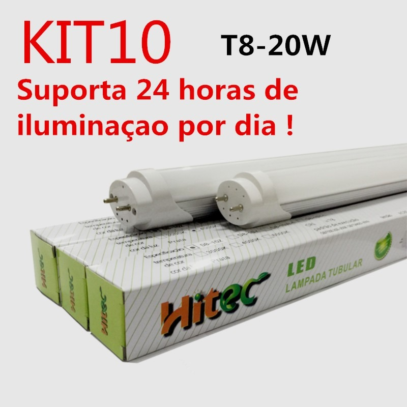 Lampada Tubular Led 20w Quente: Kit10 Lampada Led Tubular Com Calha T8 120cm 1.2m 20w