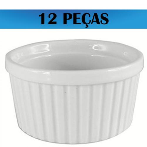 kit12 ramekin canelado de porcelana tamanho mini  ref 340