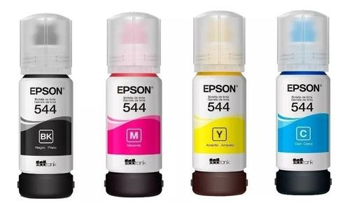 kit4 cores refil tinta epson t544 original l3110 l3150
