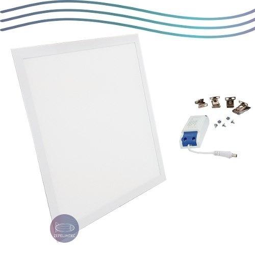 kit9 plafon embutir painel led 50w 62x62 quadrado frio 6000k