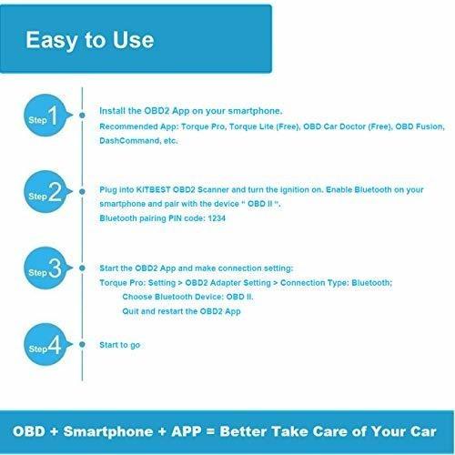kitbest bluetooth obd obd2 adaptador de escáner para android