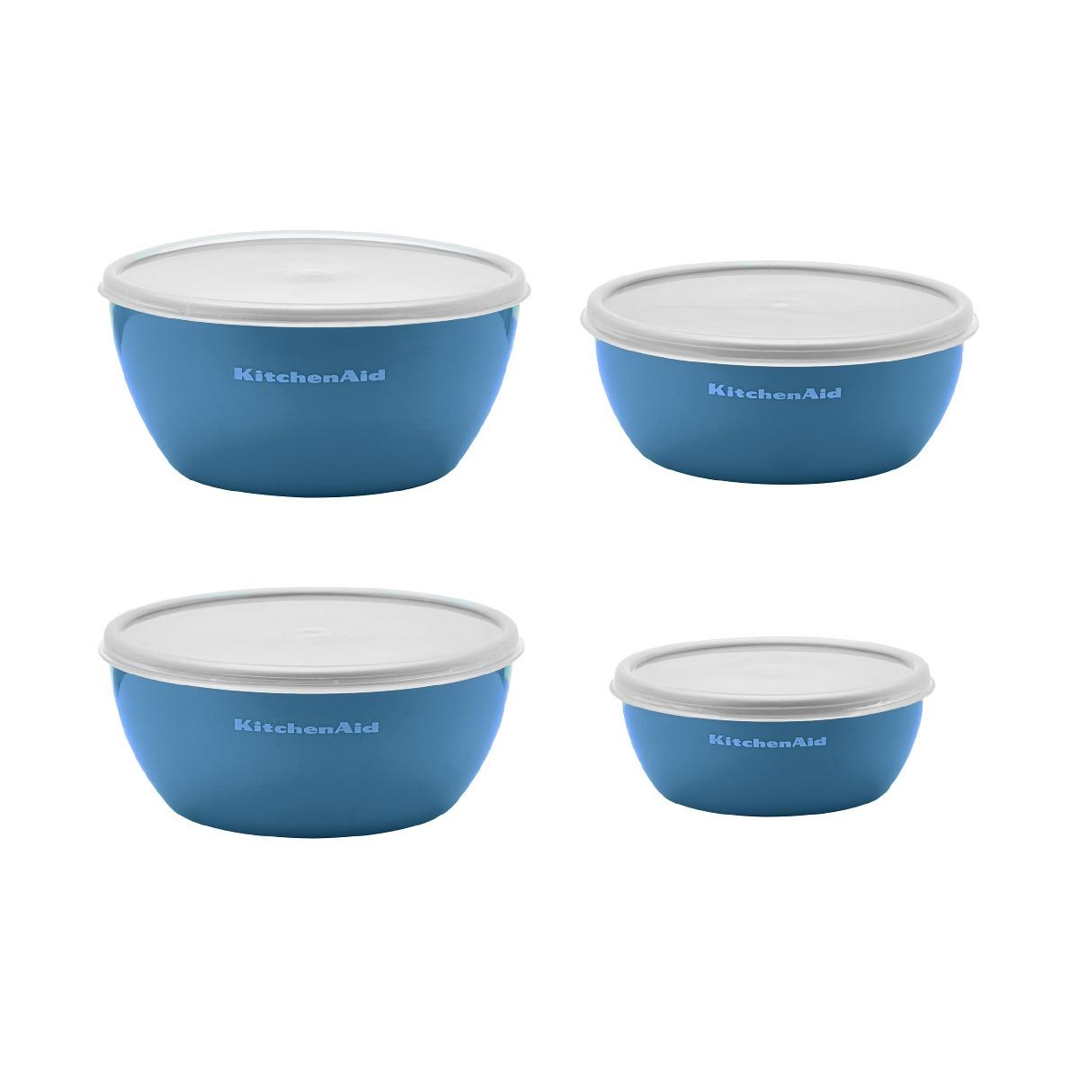 Kitchenaid Prep Bowls with Lids Set of 4 Ocean Blue Dinnerware ...