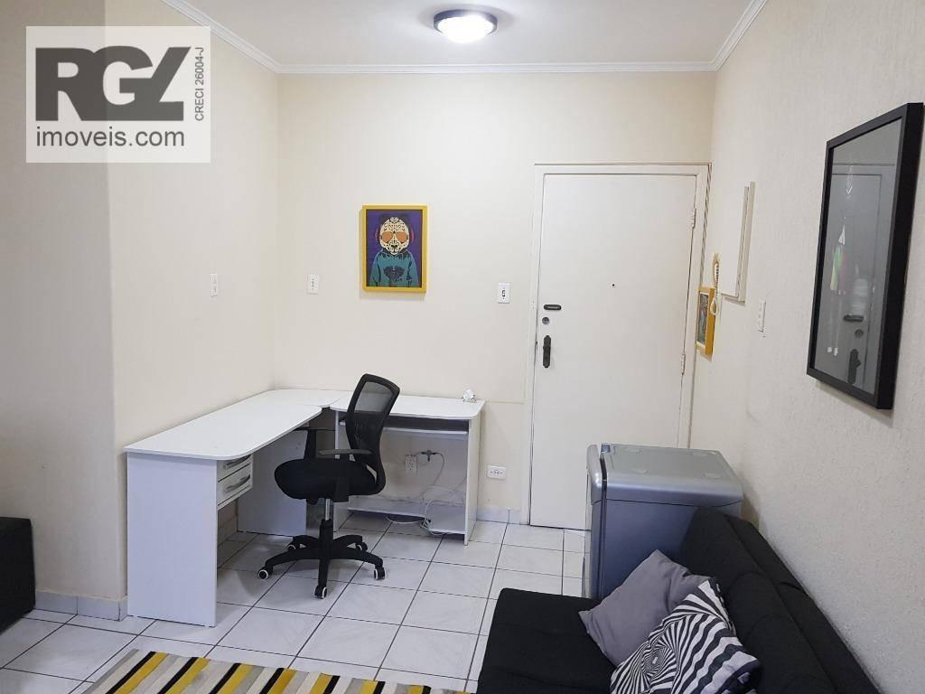 kitnet com 1 dormitório para alugar, 37 m² por r$ 1.600/mês - aparecida - santos/sp - kn0079
