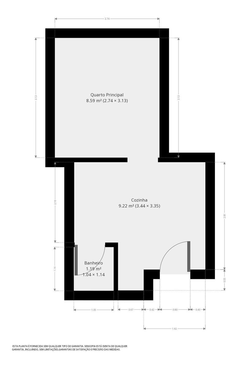 kitnet com 35m² e 1 quarto - 8371