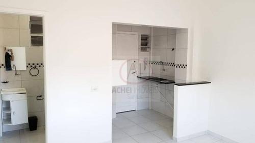 kitnet residencial à venda, reformada, excelente localização, 1 vaga, embaré, santos. - kn0159