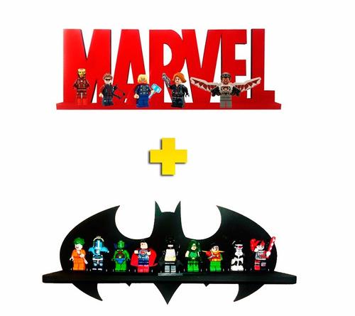 kits 2 prateleira marvel 2 batman exposição e decoração lego