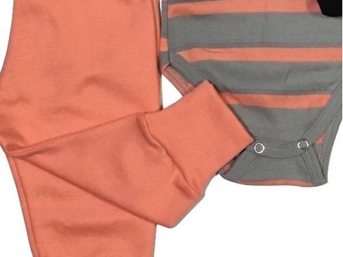 kits 3 peças bebê: bodys calças shorts 100% algodão 159k
