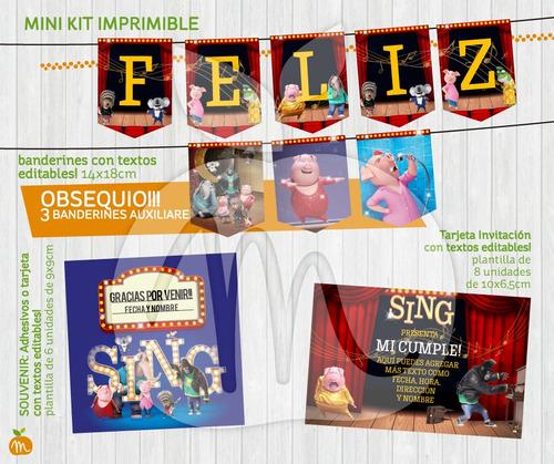 kits imprimible con textos editables cumpleaños! canta sing!