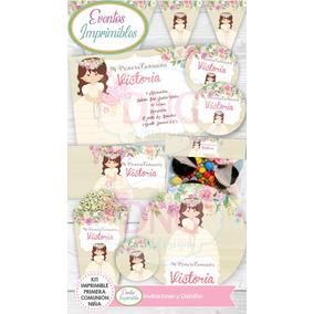 f354847c096 Kit Imprimible Primera Comunion Niña Flores Candy Bar