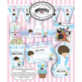 bf29ae5403c Kit Imprimible Mi Primera Comunion Niño Invitacion Candy Bar