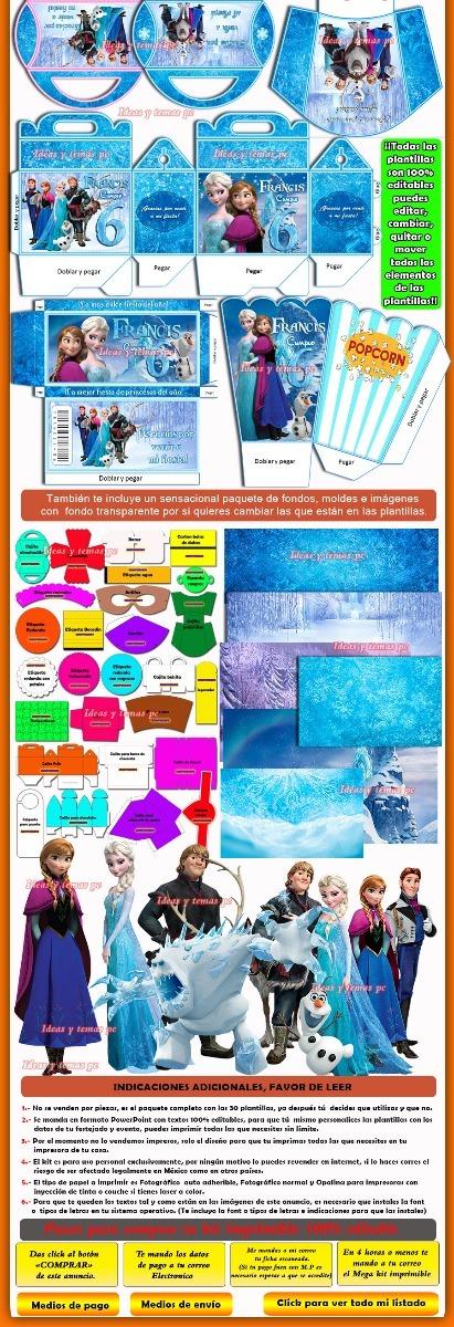 Kits Imprimibles Frozen Disney Powerpoint 100% Editable - $ 50.00 en ...