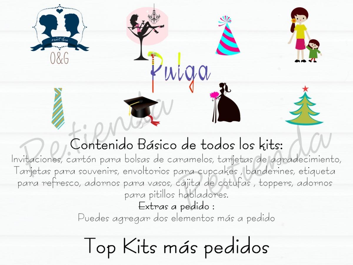 Kits Imprimibles Personalizados Fiesta Cotillon Invitaciones