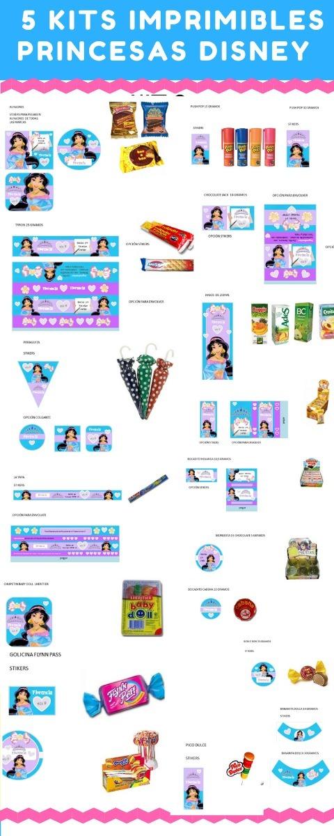 Kits Imprimibles Princesas Disney 5 X 1 Cotillon + Candy Bar - $ 80 ...