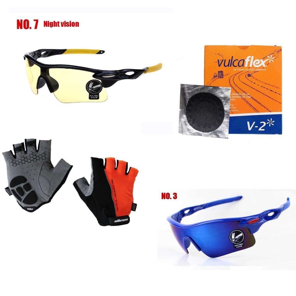 d391c817d0634 Kits Luvas De Ciclismo +2 Óculos +kit Remendos Frete Gratis - R  120 ...