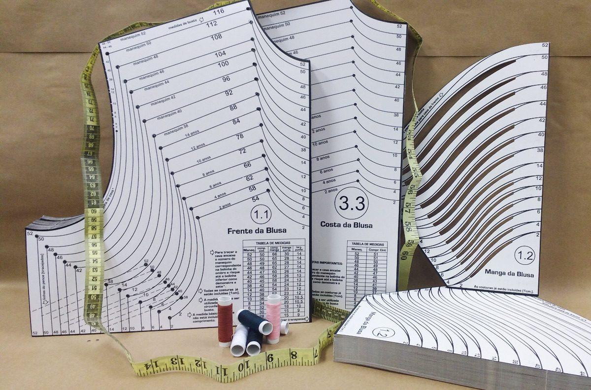 123d3e8354 Kits - Moldes De Roupa Social 16 Peças Plastificado - R  129