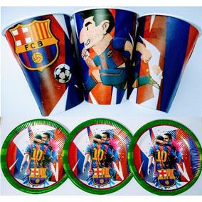 607eb4bdbe432 Barcelona F.c. 50 Platos Y 50 Vasos Articulos De Fiesta