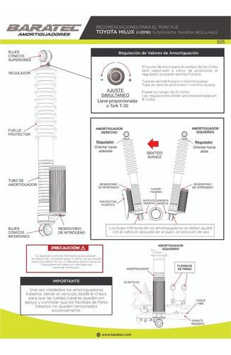 kitx4 amortiguadores baratec hilux 2016 pro