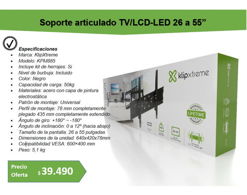 klipxtreme soporte lcd/led 26  a 55 tvs hasta 50kg. kpm-885