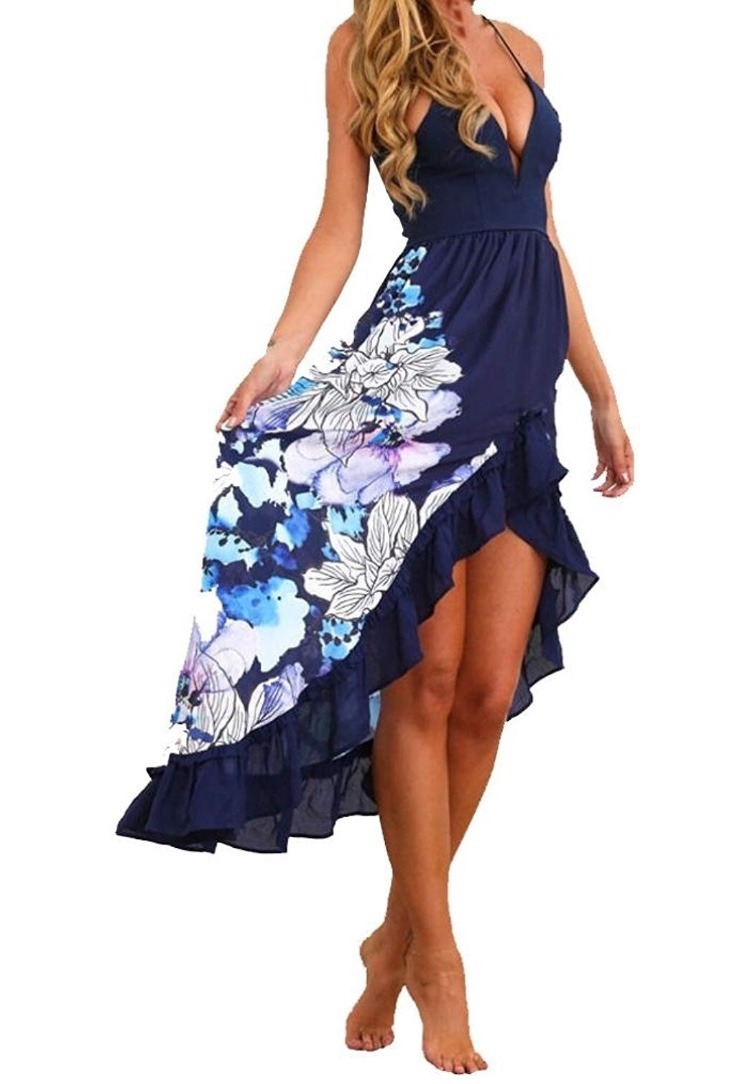 e46e55a75 Kmg - Vestido Verano Azul Con Flores - Talle M -   1.696