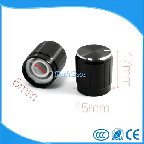 knob potenciometro furo 6mm-  5 unidades
