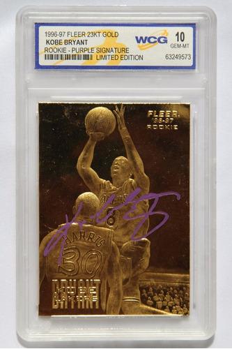 kobe bryant tarjeta fleer 23kt gold signature grado gem 10