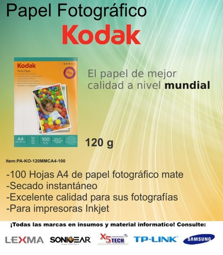 kodak papel mate fotográfico  120 gr. envío gratis!!