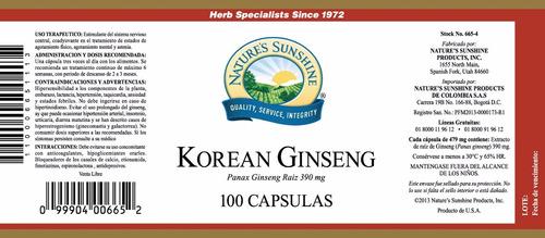 korean ginseng frasco de 100 capsulas de 390 mg c/u.