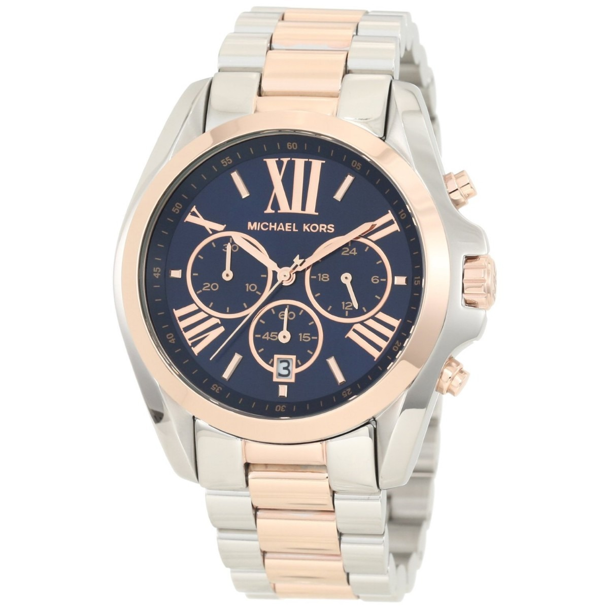 ddbfbedc8f374 Relógio Michael Kors Mk5606 Feminino Prata Azul Rose E Caixa - R ...